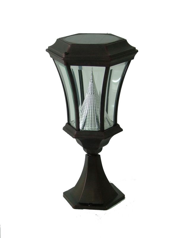 Tabletop Solar Lamp Post Black Finish