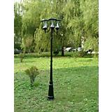 Triple Solar Lamp Post Black Finish