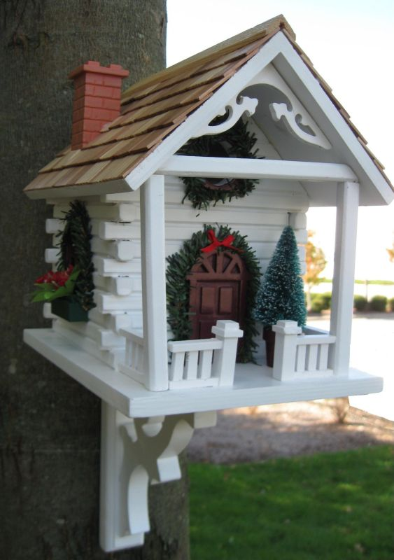 Christmas Cabin Birdhouse (HOME BAZAAR INC HB-2098A 812673010497 Wild Bird Supplies Bird Houses) photo