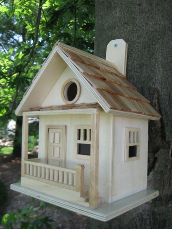 The Kottage Kabin Birdhouse Natural (HOME BAZAAR INC HB-9028NS 812673010800 Wild Bird Supplies Bird Houses) photo