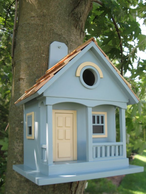 Pacific Grove Birdhouse Lt. Blue With Yellow
