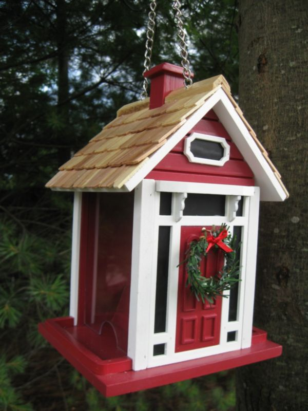 Christmas Cottage Birdfeeder Red