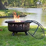 32 In Oil Rubbed Bronze Firebowl w/Palm Design