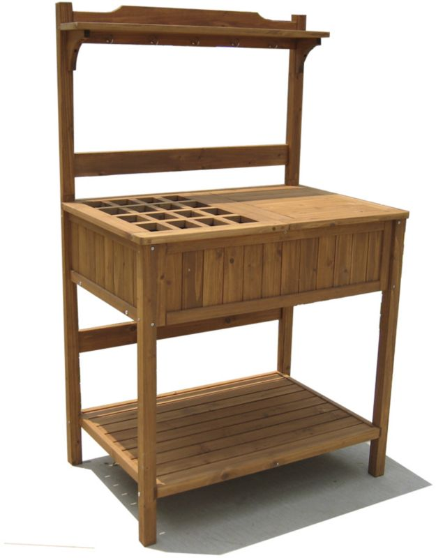 Solid Fir Potting Bench with Recessed Storage