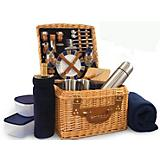 Canterbury Picnic Basket-Navy with Plaid
