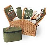 Somerset Picnic Basket-Sage/Hunter with Plaid