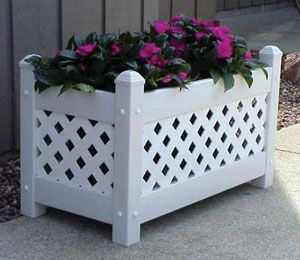 Lattice Planter Large White