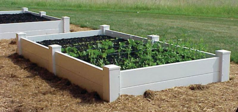 Dura-Trel Vinyl Raised Planter Box 4ft x 4ft x11in