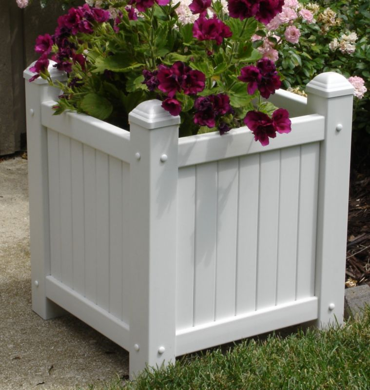 Small Slat Vinyl Planter White