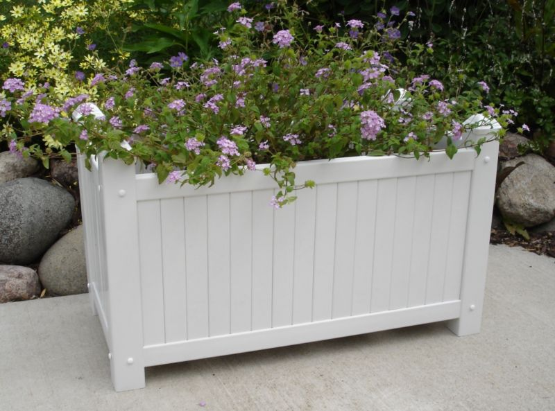 Large Slat Vinyl Planter White