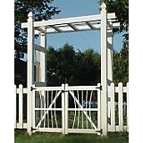 Dura-Trel Courtyard Vinyl Pergola Arbor with Gate