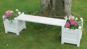 Vinyl Planter Bench with Planters