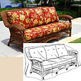 Wicker Sofa Seat Cover (85In X 36In X 36In High)