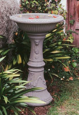 Florentine Birdbath Weathered Grey Stone