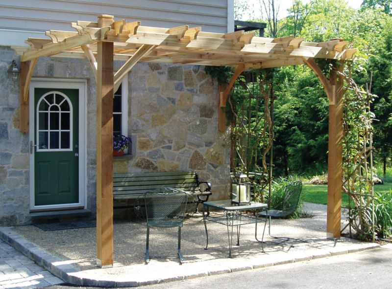 Breeze Cedar Pergola-Attached w/ 2-9FT Posts 12x12