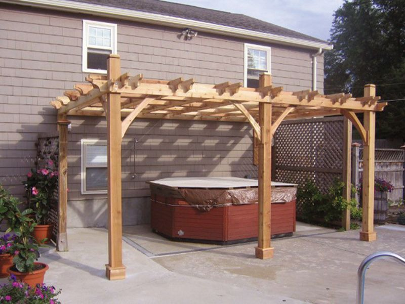Breeze Cedar Pergola-Attached w/ 3-9FT Posts 12x16
