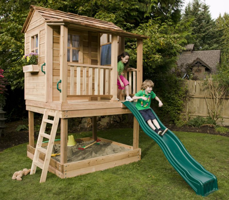 Pdf playhouse plans with slide plans free for Wooden playhouse designs