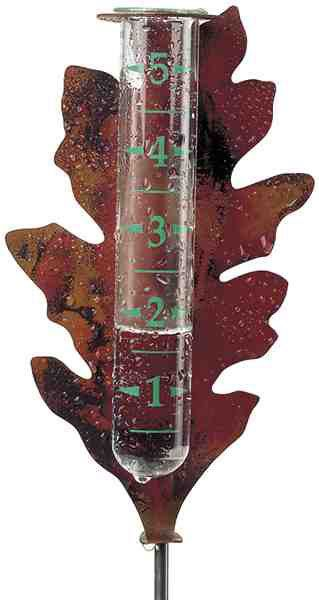 Flamed Copper Oak Leaf Rain Gauge