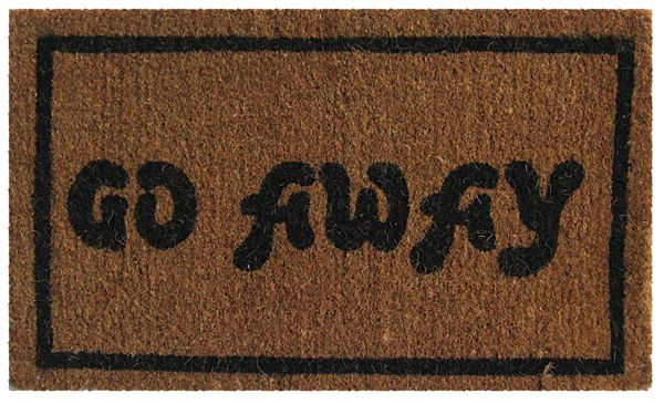 Go Away Black Coir Doormat