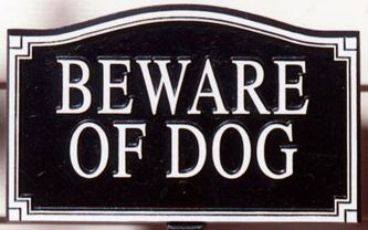 Beware Of Dog Plaque Black with Gold