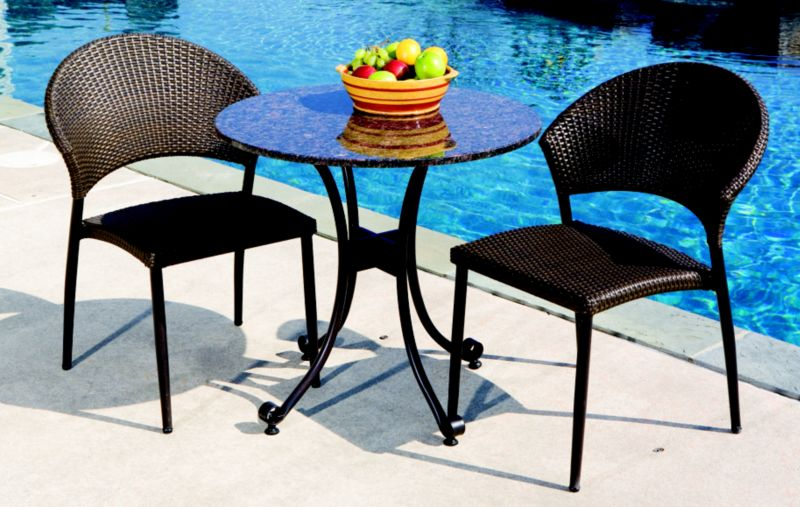 Vento Wicker Granite Bistro Set