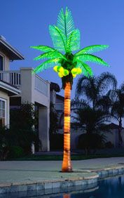 Coconut Lighted Palm Tree 16Ft Blue