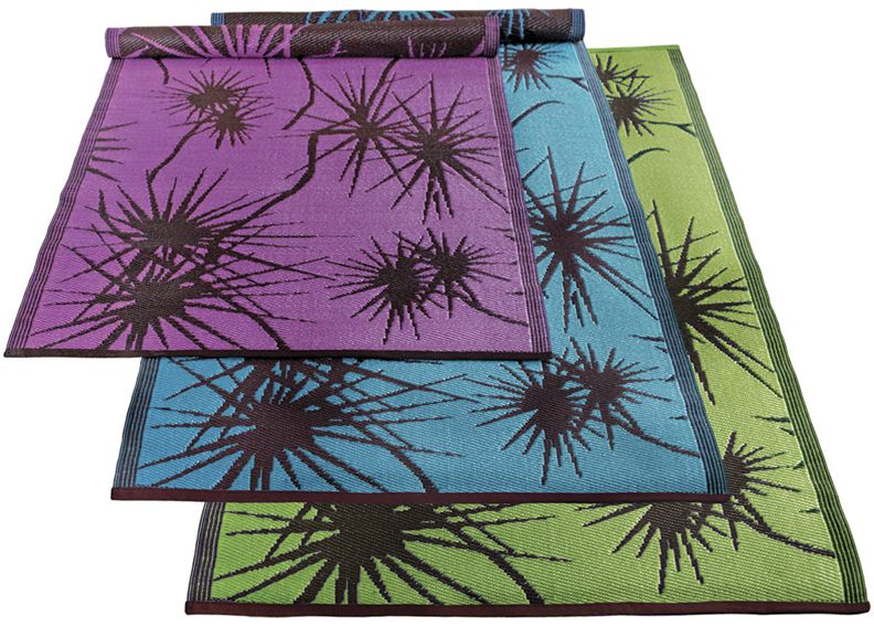 Bamboo Floormat 6ft x 4ft Turquoise-Brown