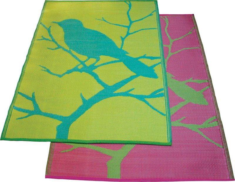 Birds Floormat 6ft x 4ft Lime-Pink