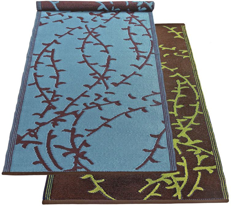 Branches Runner Mat 2.5ft x 8ft Turquoise-Brown