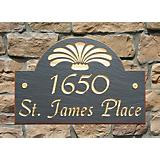Arch Fleur Slate Address Plaque - Standard