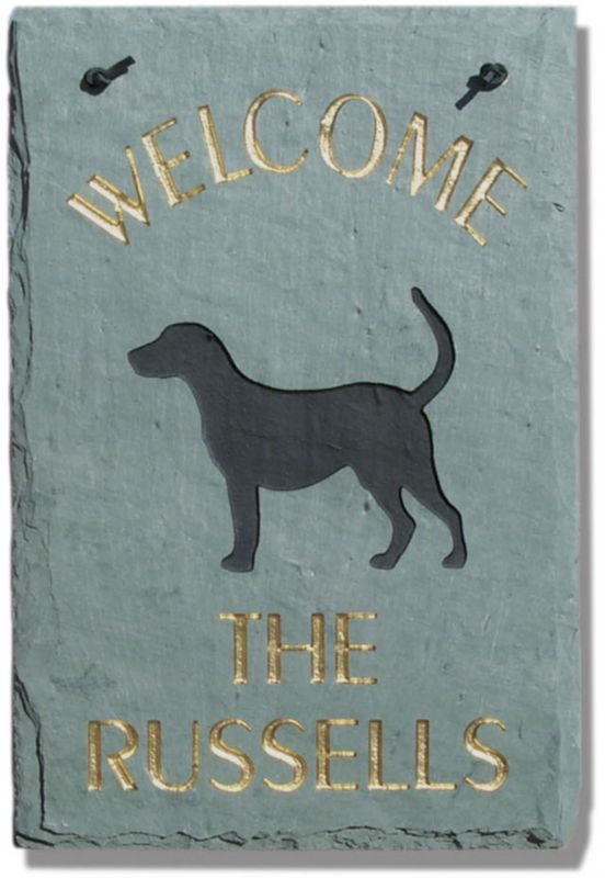 Dog Slate Welcome Plaque Bull Terrier