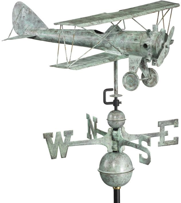 Biplane Weathervane Copper