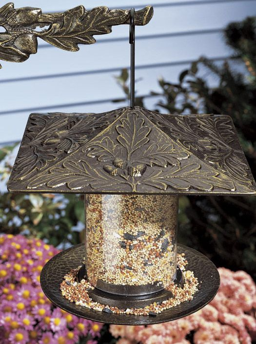 Oakleaf Tube Feeder 12in French Bronze (WHITEHALL PRODUCTS 30417 719455304365 Wild Bird Supplies Bird Feeders) photo
