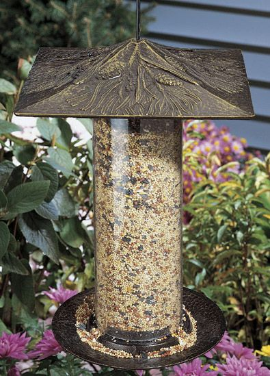 Pinecone Tube Feeder 12in French Bronze (WHITEHALL PRODUCTS 30423 719455304389 Wild Bird Supplies Bird Feeders) photo