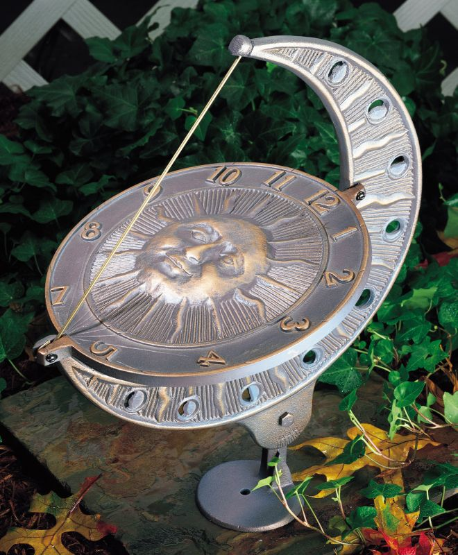 Sun and Moon Sundial Verdigris