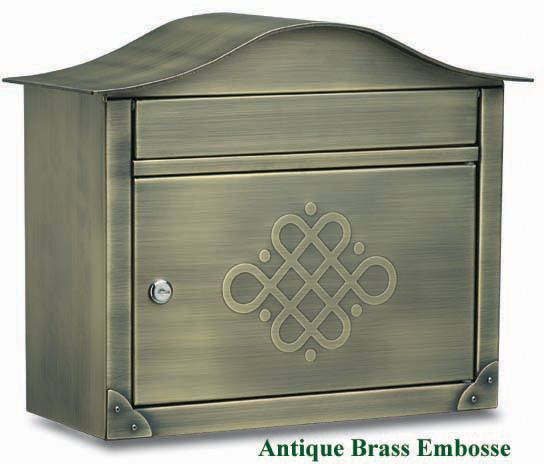 Peninsula Wall Mount Mailbox Antique Brass Embosse