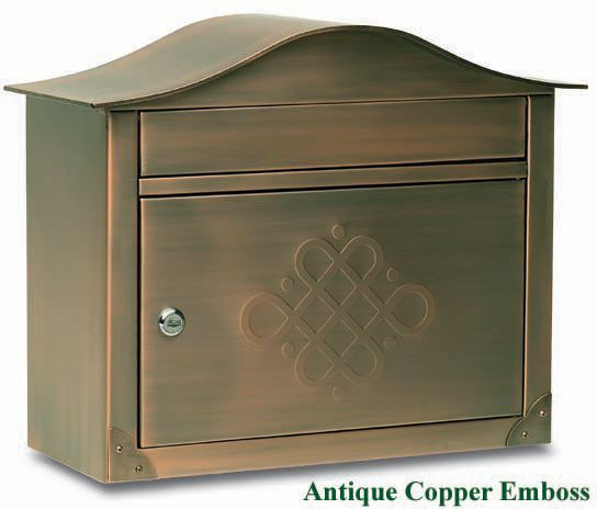Peninsula Wall Mount Mailbox Antique Copper Emboss