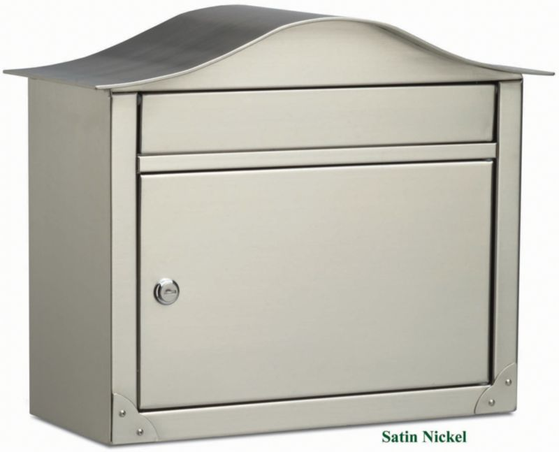 Peninsula Wall Mount Mailbox Satin Nickel