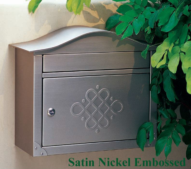 Peninsula Wall Mount Mailbox Satin Nickel Embossed