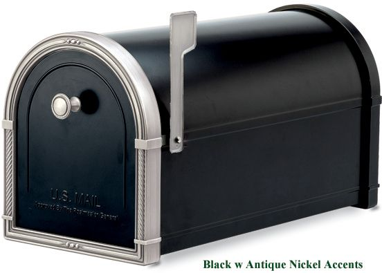 Coronado Mailbox Black w Antique Bronze Accents