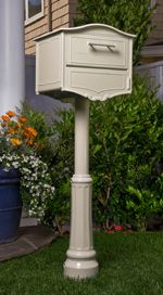 Geneva Post Mount Locking Mailbox White