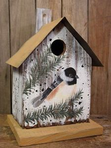 Metal Roof Birdhouse Chickadee