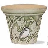 Burley Clay Hand Painted Chickadee Planter 10 inch