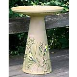 Goldfinch Birdbath Set w Glazed Interior