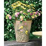 Burley Clay Hand Painted Goldfinch Planter 10 inch