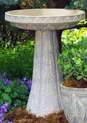 Palm Leaf Birdbath-Spanish Moss