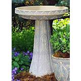 Burley Clay Palm Leaf Birdbath Top Spanish Moss