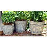 Burley Clay Palm Leaf Planter Spanish Moss