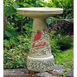 Burley Clay Summer Cardinal Birdbath Set