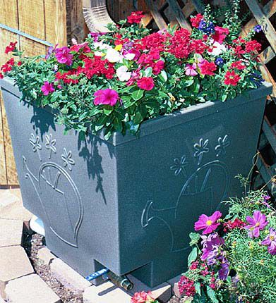 Nino Rain Barrel-Planter Plus Solid Black